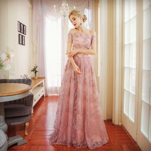Chic / Beautiful Pearl Pink Evening Dresses  2017 A-Line / Princess Pearl Off-The-Shoulder Backless Short Sleeve Floor-Length / Long Formal Dresses