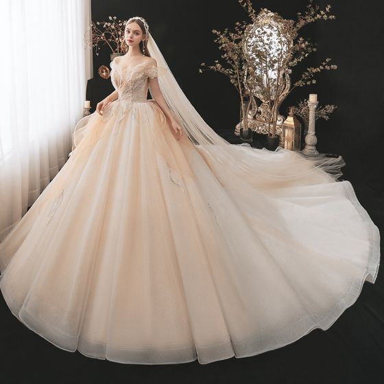 Charming Champagne See-through Bridal Wedding Dresses 2021 Ball Gown Off-The-Shoulder Short Sleeve Backless Appliques Lace Sequins Beading Glitter Tulle Cathedral Train Ruffle
