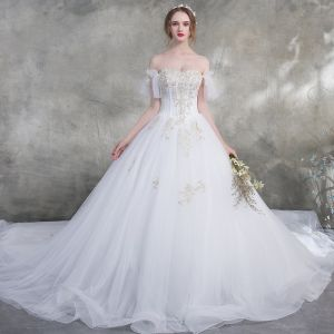 Affordable White Wedding Dresses 2018 Ball Gown Off-The-Shoulder Short Sleeve Backless Gold Appliques Lace Pearl Ruffle Cathedral Train