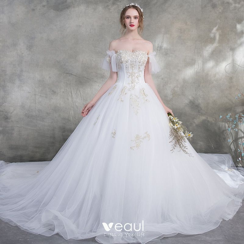 Affordable White Wedding Dresses 2018 Ball Gown Off The Shoulder