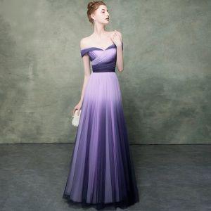 Edles Violett Farbverlauf Lavendel Abendkleider 2019 Empire Off Shoulder Kurze Ärmel Lange Festliche Kleider Rückenfreies Rüschen