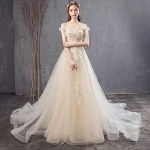 Champagne Höst Vår Sommar Bröllopsklänningar Halterneck Kristall Blomma Spets Pärla Paljetter Tyll Bröllop Eleganta 2019