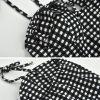 Asequible Negro Blanco a cuadros Verano Vestidos largos 2020 Spaghetti Straps Sin Mangas Sin Espalda Cortos Ropa de mujer