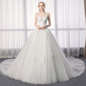 Elegante Ivory / Creme Brautkleider / Hochzeitskleider 2019 A Linie Spaghettiträger Spitze Blumen Ärmellos Rückenfreies Königliche Schleppe