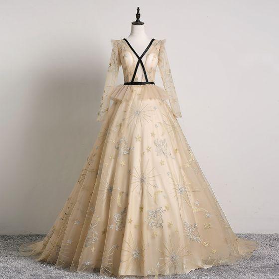 Elegant Beige Prom Dresses 2019 A-Line / Princess V-Neck Lace Star Long Sleeve Backless Sweep Train Formal Dresses