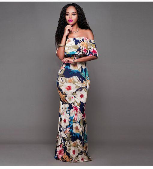 Bohemia Multi-Colors Casual Maxi Dresses 2019 Trumpet / Mermaid Off-The-Shoulder Printing Short Sleeve Backless Floor-Length / Long Womens Clothing