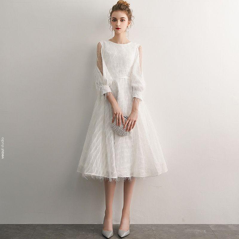 Elegant Ivory Homecoming Graduation Dresses 2019 A-Line / Princess Scoop Neck Tassel 3/4 Sleeve Tea-length Formal Dresses
