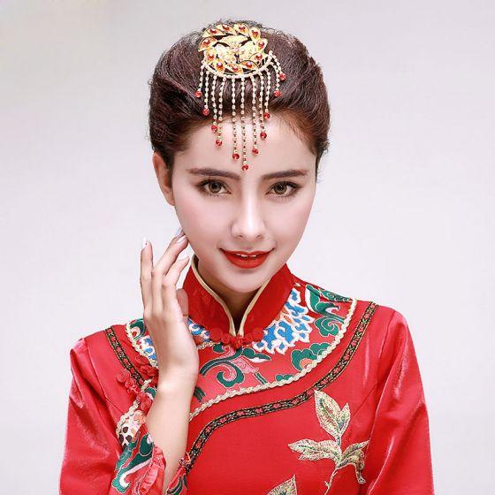 Kinesisk Stil Rhinestone Brude Hodeplagg / Hode Blomst / Bryllup Har Tilbehør / Bryllup Smykker