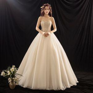 Luxury / Gorgeous Champagne Wedding Dresses 2019 Ball Gown Sweetheart Sleeveless Backless Beading Sweep Train Ruffle