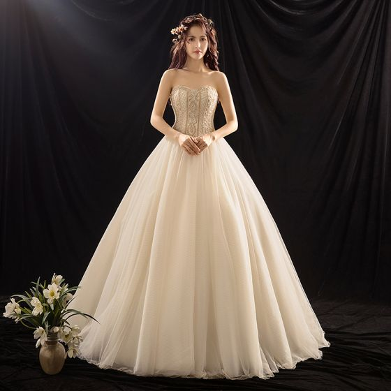 Luxury / Gorgeous Champagne Wedding Dresses 2019 Ball Gown Sweetheart Sleeveless Backless Beading Sweep Train Ruffle