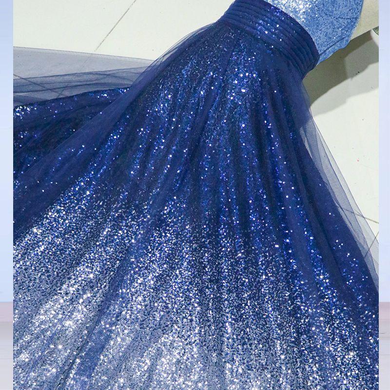 Moderne / Mode Ciel étoilé Robe De Soirée 2017 Princesse Bretelles Spaghetti Sans Manches Dégradé De Couleur Paillettes Longue Robe De Ceremonie