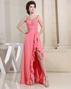 V Neck Pleated Beading Sleeveless Zipper Floor Length Chiffon Woman Evening Party Dress
