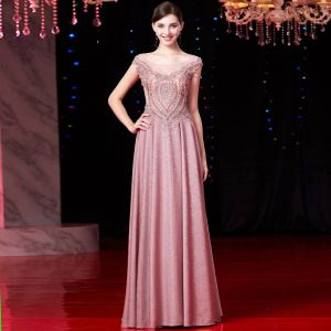 Luxury / Gorgeous Candy Pink Evening Dresses  2019 A-Line / Princess Scoop Neck Beading Tassel Pearl Lace Flower Crystal Cap Sleeves Floor-Length / Long Formal Dresses