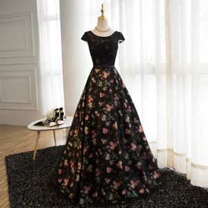 Mode Schwarz Blumen Ballkleider 2017 A Linie Rundhalsausschnitt Ärmel Drucken Satin Stoffgürtel Lange Rückenfreies Festliche Kleider