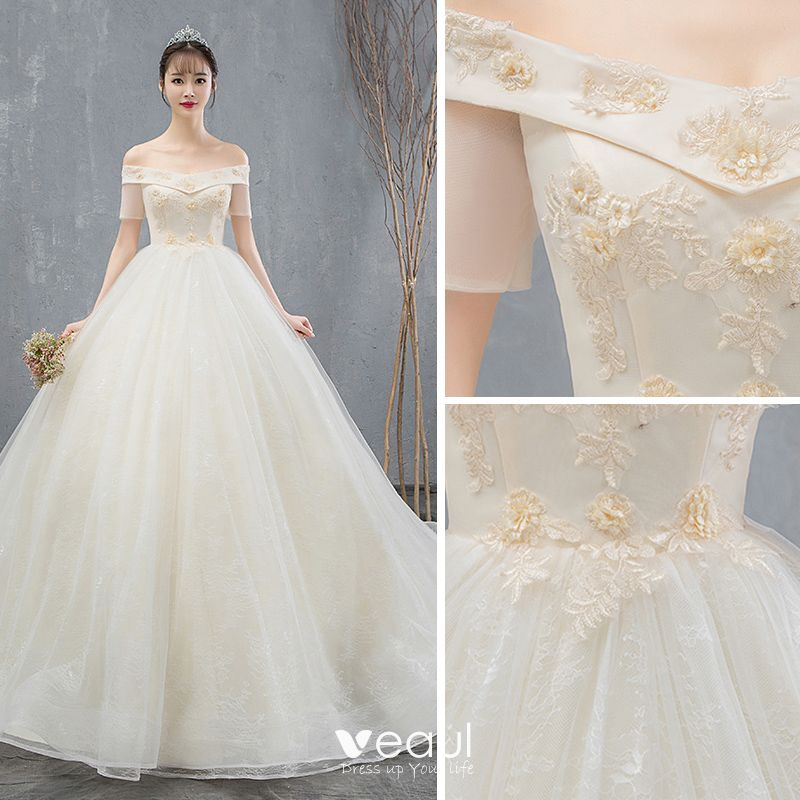 Elegant Champagne Wedding Dresses 2019 Ball Gown Off-The-Shoulder Appliques Lace Flower Short Sleeve Backless Chapel Train