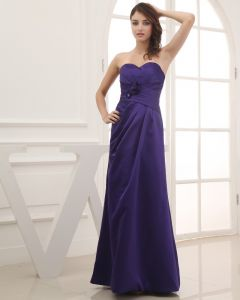 Satin Silk Ruffle Flower Beading Sweetheart Floor Length Bridesmaid Dress