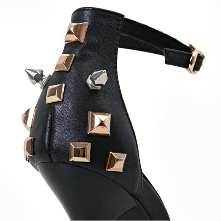 Chic / Beautiful 2017 12 cm Black Evening Party Leather Rivet High Heels Stiletto Heels Pumps Pumps