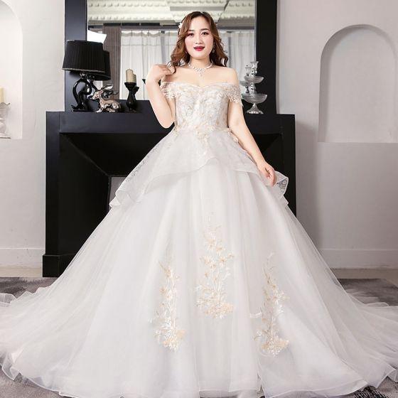 romántico blanco ball gown talla extra vestidos de novia 2019 con