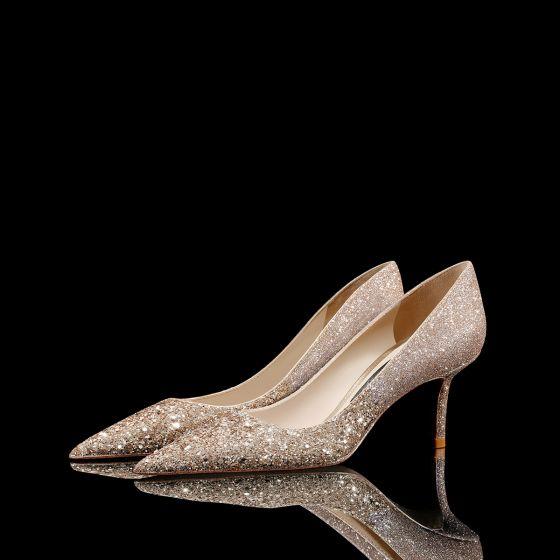 Brillante Oro Lentejuelas Cuero Zapatos de novia 2021 8 cm Stilettos / Tacones De Aguja Punta Estrecha Boda Tacones High Heels
