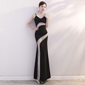 Sexy Noire Transparentes Robe De Soirée 2019 Trompette / Sirène Bretelles Spaghetti Sans Manches Faux Diamant Longue Dos Nu Robe De Ceremonie