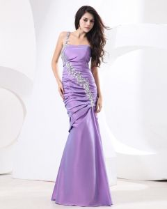 Taffeta Applique Ruffle One Shoulder Floor Length Prom Dresses