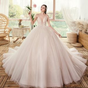 Luxury / Gorgeous Champagne Bridal Wedding Dresses 2020 Ball Gown See-through Deep V-Neck Spaghetti Straps Sleeveless Backless Appliques Lace Beading Glitter Tulle Chapel Train Ruffle