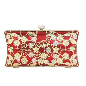 Mooie / Prachtige Rode Handtassen Kralen Rhinestone Metaal Avond Accessoires 2019