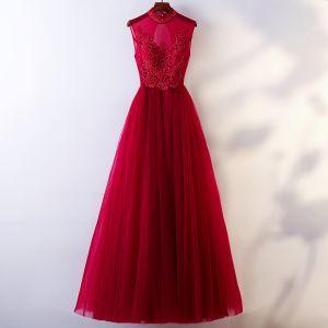 Chic / Beautiful Burgundy Evening Dresses  2018 A-Line / Princess Beading Crystal Scoop Neck Backless Sleeveless Floor-Length / Long Formal Dresses