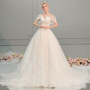Elegant Champagne Wedding Dresses 2018 A-Line / Princess Lace Flower See-through Off-The-Shoulder Backless Short Sleeve Cathedral Train Wedding
