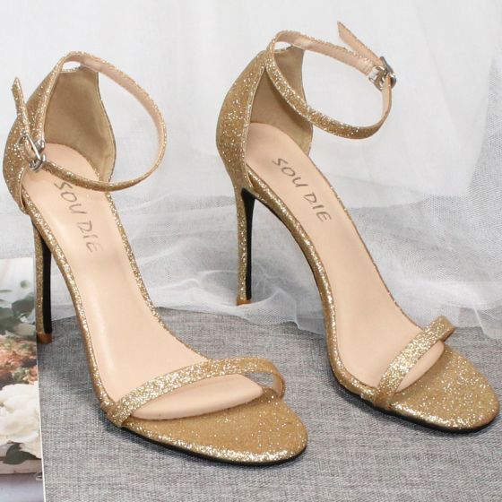 Sexy Gold Evening Party Sequins Womens Shoes 2020 Ankle Strap 10 cm Stiletto Heels Open / Peep Toe Sandals