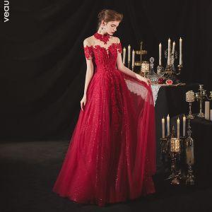 Kinesisk Stil Bourgogne Forlovelses Gallakjoler 2020 Prinsesse Gennemsigtig Høj Hals Kort Ærme Halterneck Pailletter Beading Glitter Tulle Lange Flæse