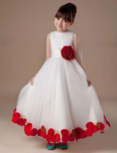 Biały Kwiat Bez Rękawów Satynowa Organzy Sukienki Dla Dziewczynek Sukienki Komunijne
