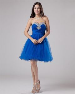 Organza Sweetheart Ruffle Beading Thigh Length Graduation Dress