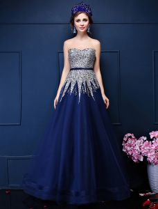 Glitter A-line Sweetheart Beading Sequins Sash Royal Blue Organza Prom Dress