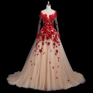 Piękne Burgund Sukienki Na Bal 2018 Princessa Aplikacje Z Koronki Kwiat Wycięciem Bez Pleców Długie Rękawy Trenem Królewski Sukienki Wizytowe