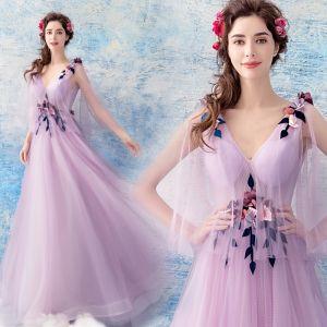 Elegante Lavendel Doorzichtige Avondjurken 2019 A lijn V-Hals Mouwloos Appliques Bloem Kralen Lange Ruche Ruglooze Gelegenheid Jurken