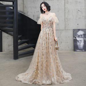 Uroczy Szampan Sukienki Wieczorowe 2020 Princessa Spaghetti Pasy Frezowanie Cekiny Z Koronki Kwiat Kótkie Rękawy Bez Pleców Trenem Sweep Sukienki Wizytowe