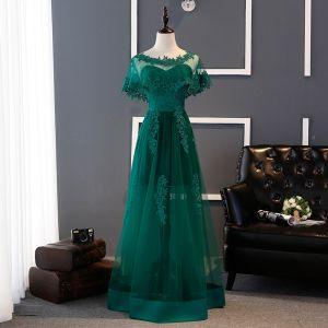 Abordable Vert Foncé Robe Demoiselle D'honneur 2017 Princesse Amoureux Appliques En Dentelle Longue