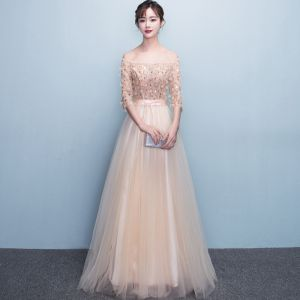 Chic / Beautiful Champagne Evening Dresses  A-Line / Princess Tulle Strapless Appliques Backless Beading Crystal Evening Party Formal Dresses