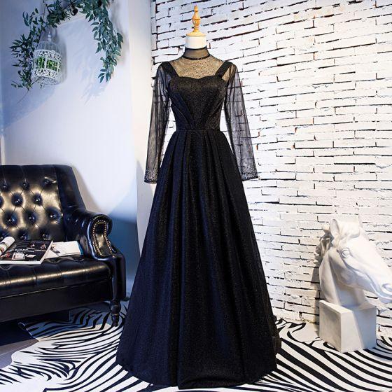 Elegantes Vintage Negro Vestidos De Gala 2019 A Line Princess Cuello Alto Rhinestone Manga Larga Largos Vestidos Formales