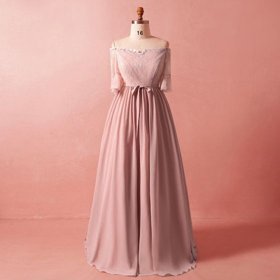 Classic Elegant Blushing Pink Plus Size Evening Dresses 2018 ...