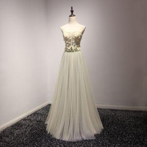 Chic / Belle Vert Cendré Robe De Soirée 2017 Princesse Amoureux Sans Manches Appliques Fleur Métal Cristal Longue Volants Dos Nu Robe De Ceremonie