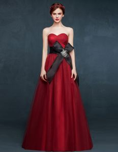 2015 Sweetheart Sleeveless Red Long Evening Dresses With Bow