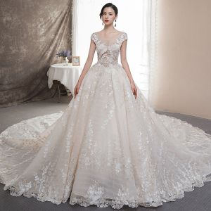 Illusion Champagne See-through Wedding Dresses 2019 A-Line / Princess Scoop Neck Cap Sleeves Backless Appliques Lace Rhinestone Beading Glitter Tulle Cathedral Train Ruffle