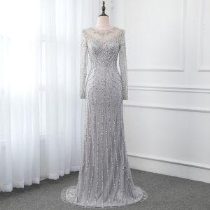 High-end Grey See-through Evening Dresses  2019 Trumpet / Mermaid Scoop Neck Long Sleeve Sequins Beading Sweep Train Formal Dresses