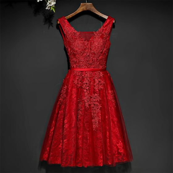 Chic / Beautiful Red Formal Dresses Evening Dresses  2017 Lace Flower Strappy Sleeveless V-Neck Short A-Line / Princess