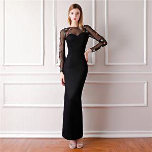 Elegante Schwarz Durchsichtige Abendkleider 2019 Meerjungfrau Rundhalsausschnitt Lange Ärmel Perlenstickerei Knöchellänge Festliche Kleider