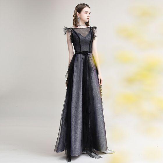 Chic / Beautiful Grey Black Evening Dresses  2020 A-Line / Princess See-through Square Neckline Sleeveless Glitter Polyester Floor-Length / Long Ruffle Formal Dresses