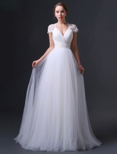 2015 Empire Shoulders V-neck Beading Sash Ruffles Wedding Dress