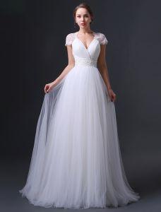 2015 Empire Shoulders V-neck Beading Sash Ruffles Wedding Dress